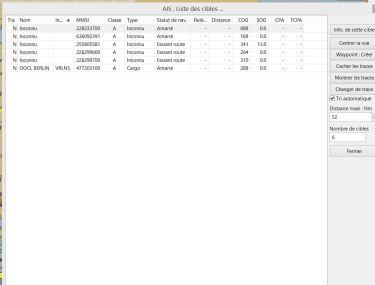 liste AIS opencpn